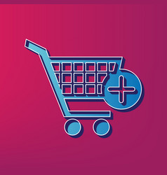 Shopping cart with add mark sign blue 3d vector