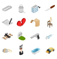 Suicide isometric 3d icons vector