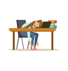 tired businesswoman sleeping on the desk with vector image