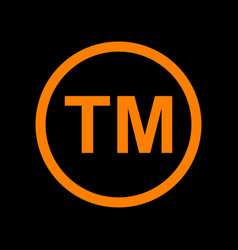 Trade mark sign orange icon on black background vector