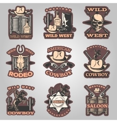 Wild West Emblem Set In Color vector image