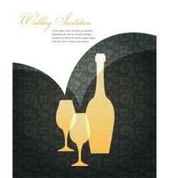 wedding invitation on black vector image