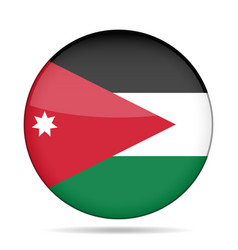 Flag of jordan shiny round button vector