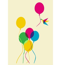 Multicolored humming bird and balloons vector