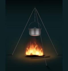 Camping pot on bonfire vector