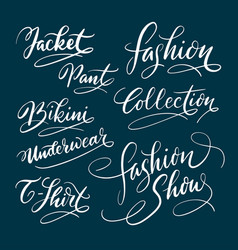 Fashion and bikini hand written typography vector