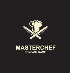 Crossed knives and chef hat vector