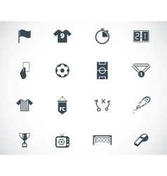 black soccer icons set vector image