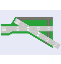 Airport runway top view vector