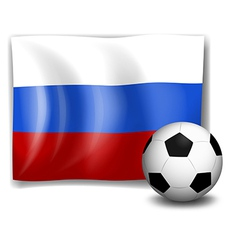 The flag of russia at the back of a soccer ball vector