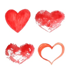 Set of watercolor hearts vector