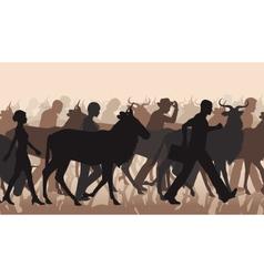 Commuting people and wilderbeest vector
