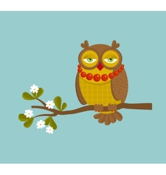 The portrait of fashionable owl on the branch vector