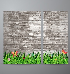 Green grass over brick wall background vector