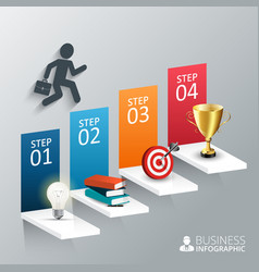 The four steps to success vector