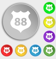 Route 88 highway icon sign symbols on eight flat vector