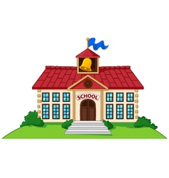 Cartoon school building isolated on white backgrou vector
