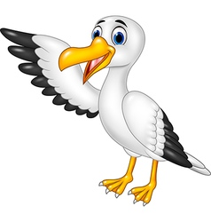 Cartoon funny seagull presenting isolated vector