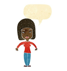 Cartoon woman shrugging shoulders with speech vector