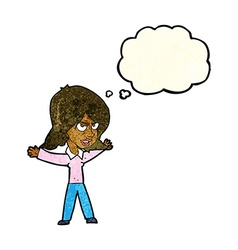 Cartoon woman gesturing with thought bubble vector