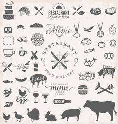 Restaurant menu and food design elements vector