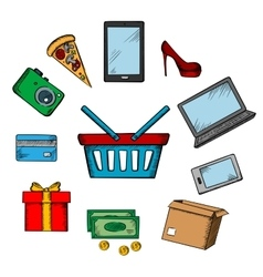 Trading and online shopping icons vector