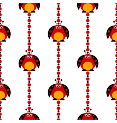 Patern with bright cute comic ladybugs vector