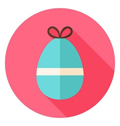 Easter egg with small bow knot circle icon vector