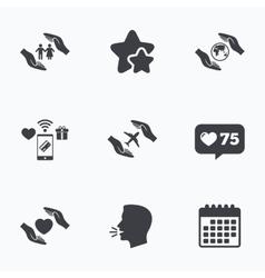 Hands insurance icons human life-assurance vector