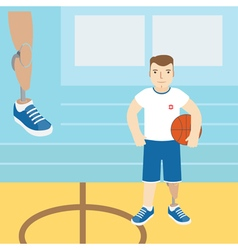 A man with a prosthetic leg holding a basketball vector