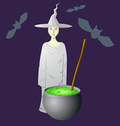 An evil witch in a hat that brews vector