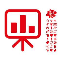 bar chart display icon with dating bonus vector image vector image