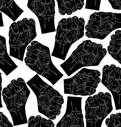 Clenched fists seamless pattern black and white vector image vector image