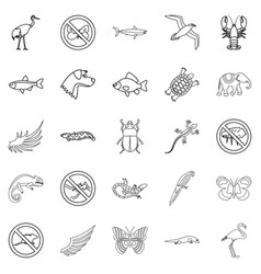 Coastal fauna icons set outline style vector