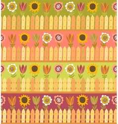 Country seamless pattern with fence and flowers vector image