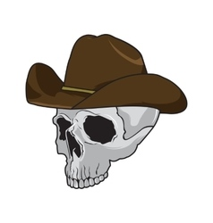 Cowboy skull wearing stylish brown fedora hat in a vector image vector image