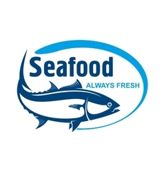 Fish market symbol with wild alaskan salmon vector