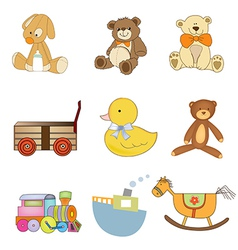 Funny toys items set isolated on white background vector