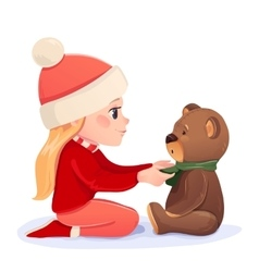 girl with a bear vector image