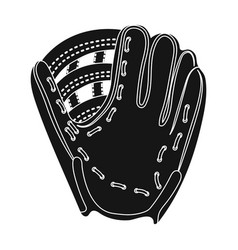 Glove trap baseball single icon in black style vector