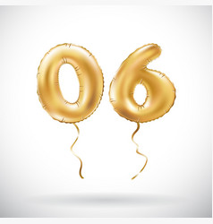Golden number 06 zero six metallic balloon party vector