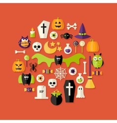 Halloween Flat Icons Set Over Red vector image