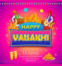 happy vaisakhi punjabi festival celebration vector image vector image