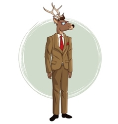 Hipster deer suit red tie sunglasses vector