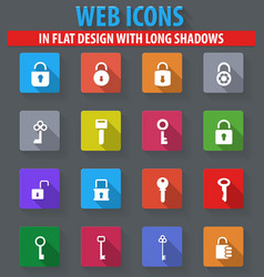 lock and key icons set vector image vector image