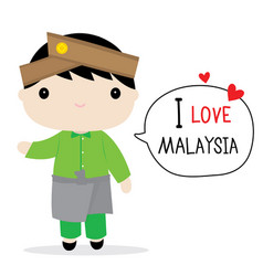 Malaysia men national dress cartoon vector