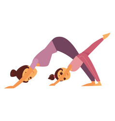 mother and daughter does yoga exercises isolated vector image