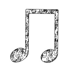 Musical note monochrome silhouette formed by vector