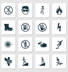 Protection icons set with laser beam eye vector