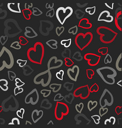Red and gray hearts seamless tile vector